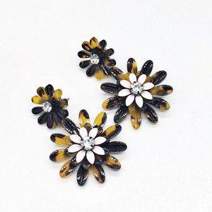 J Crew Flower Rhinestone Tortoise Dangle Earrings